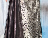 Silvery Gold and Black Straight Panel Skirt