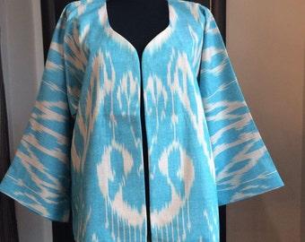 Handwoven Ikat Adras Cotton Coat Oksucha