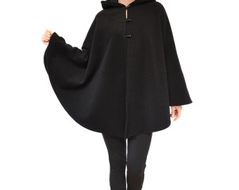 Black Wool Cape, Hooded Cape, Black Wool Poncho, Black Wool Cloak, Plus Size Cape Coat, Medieval Cloak, Cashmere Wool Coat