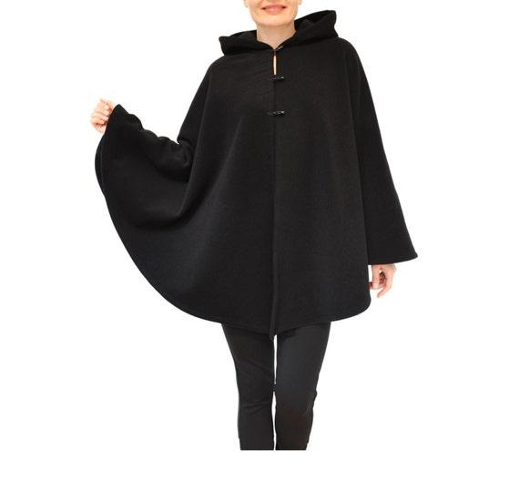 Black Wool Cape Hooded Cape Black Wool Poncho Black Wool