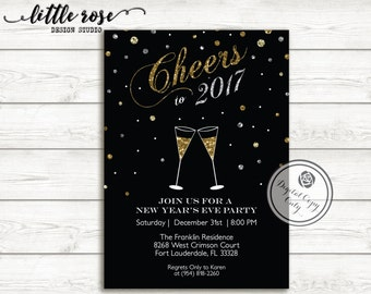New Years Eve Party Invitation - NYE Party Invite - Silver & Gold Invitation - Cheers NYE - Holiday Invite - Printable