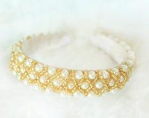 pearl headband, wedding pearl, bridal pearl, bridal gold beards, beads headband