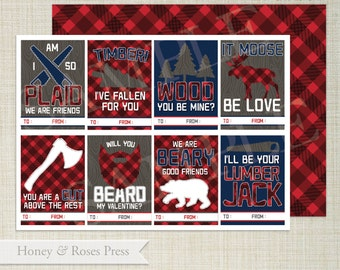 Lumberjack Valentine's Day Cards  .  Kids Valentines Cards  .  Boy Classroom Valentines  .  Printable Valentines  .  Instant Download  .