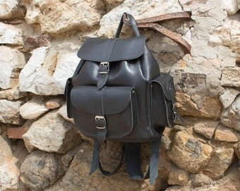 Leather Backpack Hadmade, LARGE   three pockets Rucksack, silver color hardware