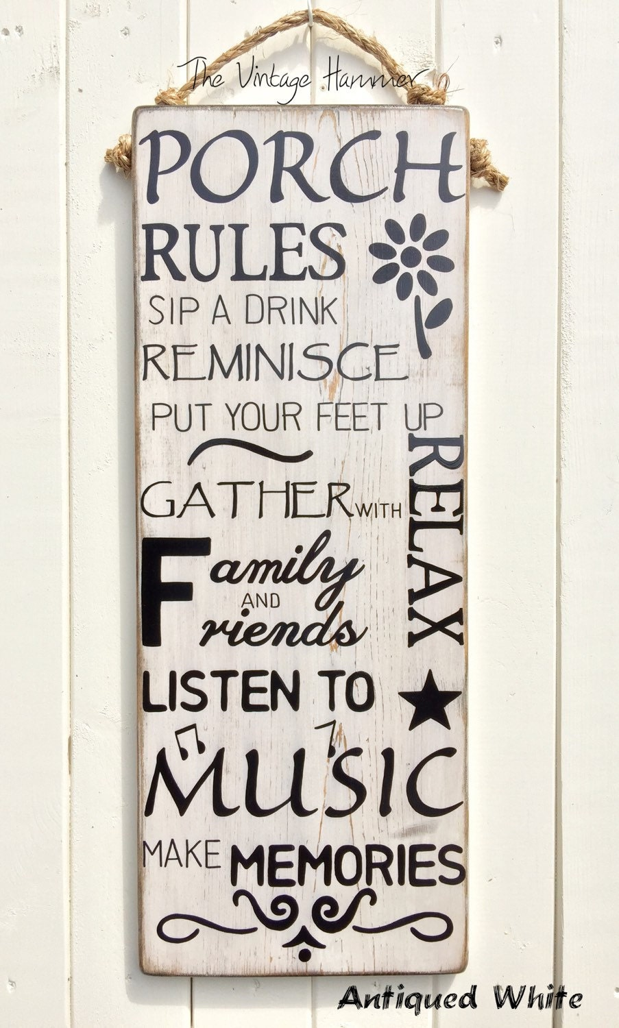 Large Porch Rules Sign Hand Painted Outdoor Sealed Wood