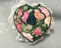 Fabric Heart Box,  Green Floral Fabric Heart Box,Hand Crafted Heart Box, Laced Trimmed, Lined Fabric Heart Box, Cabbage Rose Fabric