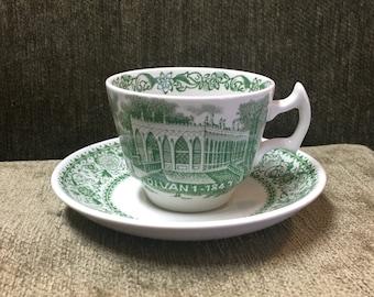 Wood & Sons Demitasse Cup and Saucer, DIVAN 1-1843, Transferware, Burselem, England, Country Estates England, Green Transferware