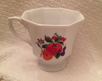 Hallmark Fruit Porcelain Mug Cup, Octagonal Fruit Design Mug, Off White Mug with Apple Pear Cherries Plums Berries, Hallmark Porcelain Mug