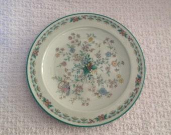 Noritake Paradise Plate, Floral Dessert Plate, Floral Bread Butter Plate, Paradise 8223 WBO, Japan, Green Floral Plate,GreenTrim