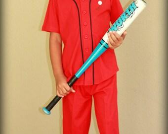 Kids Red Baseball Valentine Button Up Pajamas