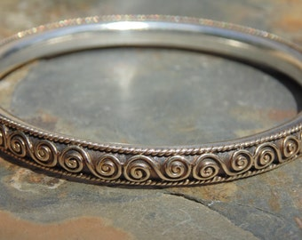 Carmen Beckmann ~ Vintage Heavy Sterling Silver Bangle with Swirl Design - 66 Grams
