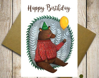 Birthday bear, Birthday invitation, party invitations, card for kids, happy birthday teddy bear card, birthday wishes, greeting card