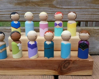 READY TO SHIP - Princess Wooden Peg Doll / Cake Topper / Collectible - Sold Separately