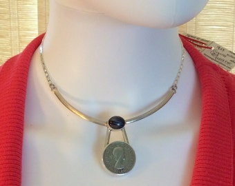 1954 or 1985 British Coin Collar Necklace. Sterling Silver, Etched, 15 in. tiny Buddha amulet. free US ship 109.00 ea
