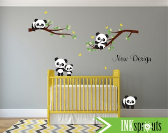 Baby panda decal etsy fr for Stickers panda chambre bebe