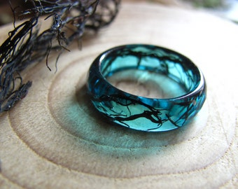 Mermaid Ring, Ocean Resin ring, Nature Ring, Mermaid Jewelry, Blue Resin Ring, Stacking Ring, Black Algae Ring, Summer Ring, Nautical Ring