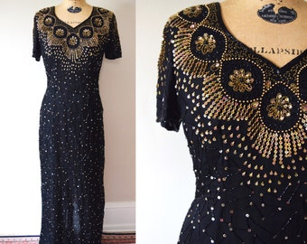 80s Does 40s Silk Beaded Full Length Gown // Black and Gold Formal Party Dress // M