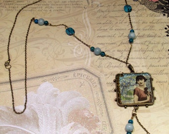 French Flapper Girl Vintage Image Pendant Necklace