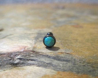 Aqua Green Fire Opal Black Titanium IP Helix Cartilage Stud Earring Piercing 2mm 3mm 4mm