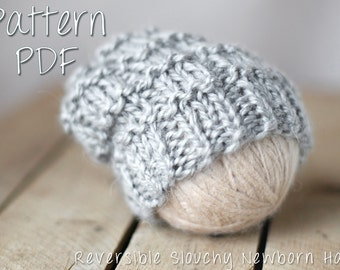 Reversible Slouchy Newborn Hat Pattern, PDF Knitting Pattern, Hipster Hat Pattern, Hipster Knit Pattern, Knitted Baby Hat, Newborn Hat, Knit