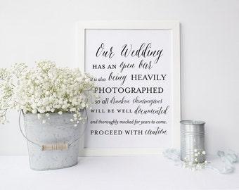 Wedding Open Bar Sign, Printable Wedding Decor, 5x7 AND 8x10 INSTANT DOWNLOAD, Wedding Bar Sign, Open Bar Signage, Drunken Shenanigans