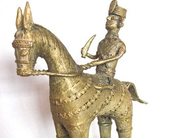 Bronze Statue Man on Horse  Handcrafted Bastar  Dhokra Tribe India