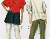 Vogue 8913 Misses Dolman Sleeve Tunic and Pants Sewing Pattern Color Block Capris Size Xsm to Med OR Lrg to Xxl UNCUT