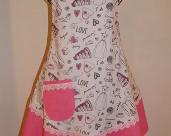 Women's Large Apron - Bridal Brides White & Pink