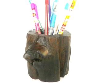 "Rustic log pencil holder Natural Teak Wood log pen holder Handmade 4""X4"""