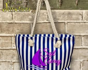 Tropical/Nautical/Beach/Lake Sailing Rope Tote Bag/Large Boat Bag With Rope Handles/Striped Sailboat Bag With Nautical Rope Handles