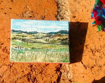 Mini watercolour landscape canvas painting, and wearable art brooch