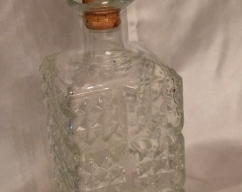 Clear Glass Liquor Bottle, scotch decanter, whiskey bottle, glass decanter, liquor