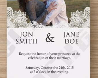 Custom Lace Wedding Invitation/RSVP Card- Personalize Colors, Fonts, Verbiage & More! Perfect for Shabby Chic Wedding! **DIGITAL COPY**