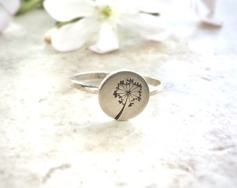 Dandelion Jewelry Ring, Unique Rings, Stacking Rings, Hand Stamped Rings, Gifts under 50, Wish Ring, Sterling Silver Ring for Women