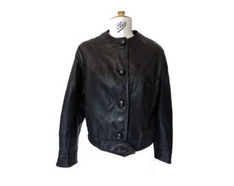 1960s black leather JACKET // Mod jacket // 60s french leather jacket