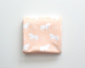 Baby Toddler Modern Fitted Minky Crib Sheet - Peach Horses