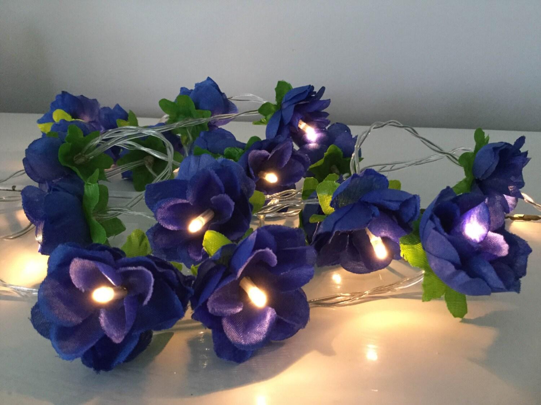 Royal blue rose fairy lights Flower string lights Rose