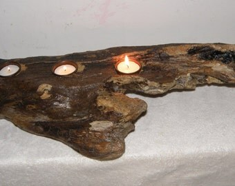 Stunning Large Single Driftwood Piece Tea Light Holder