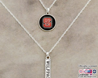 North Carolina State Wolfpack Double Down Necklace - NCS57806