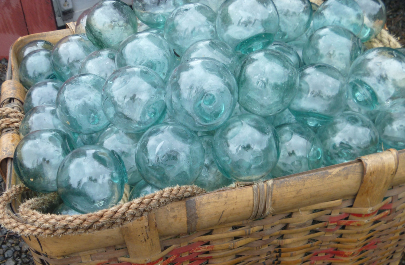 Vintage japanese glass floats 2 lot of 15 ocean fishing for Japanese fishing floats