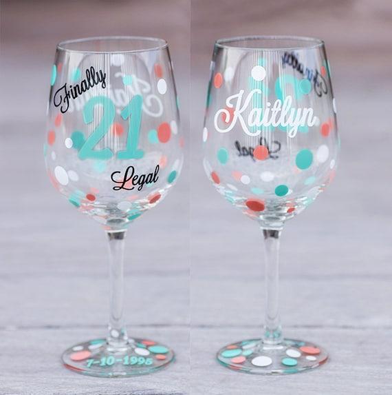 21st Birthday Wine Glass 18.5 Oz. Birthday Gift Finally 21