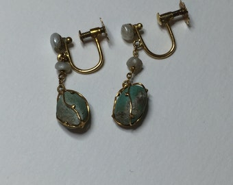 Turquoise Pearl and Gold Edwardian Earrings