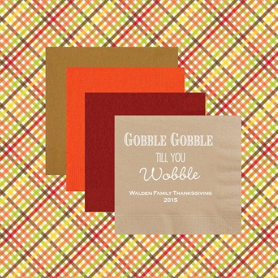 Thanksgiving personalized napkins, Thanksgiving napkins, personalized napkins, party cups, Holiday napkins, Gobble till you wobble napkins