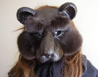 Masquerade mask Bear mask Bear costume Paper mache Bear mask Paper Bear mask