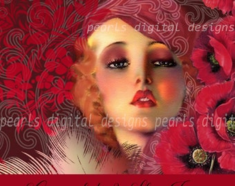 large Cover banner and Shop Icon set, instant download, blank file, Rachel Red Poppies, vintage theme, floral, pinup vintage lady, flapper