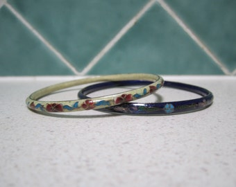 Two Vintage Cloisonne/Enamel Bangles - Blue and Cream Floral