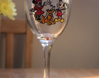 Mickey & Minnie Mouse Inspired Hand Painted Wine Glass