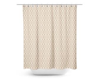 Minimal Taupe Lattice Print Shower Curtain   Kids Shower Curtain   Mod Kids Shower  Curtain