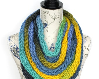 Scarf Necklace - Knit Infinity - Knitted Necklace - Womens Infinity Scarfs - Knit Infinity Scarf - Gift for her - Girlfriend Gift
