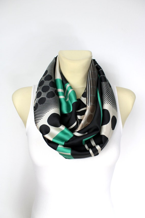 Mothers Day Gift from Daughter Geometric Infinity Scarf Satin Silk Loop Womens Fashion Scarf Boho Scarf Gift for Mom Spring Celebrations